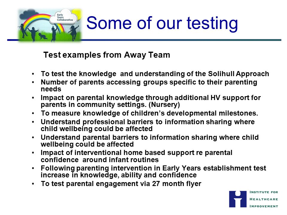Some of our testing Test examples from Away Team