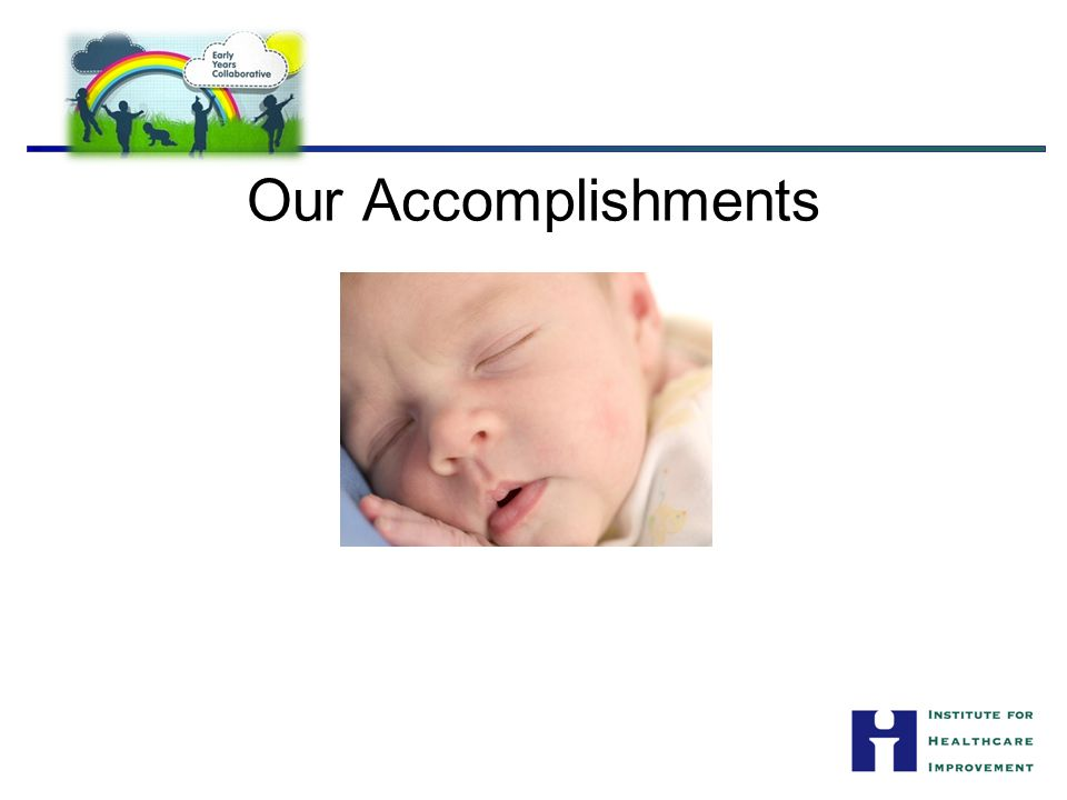 Our Accomplishments On one slide, please complete this statement: