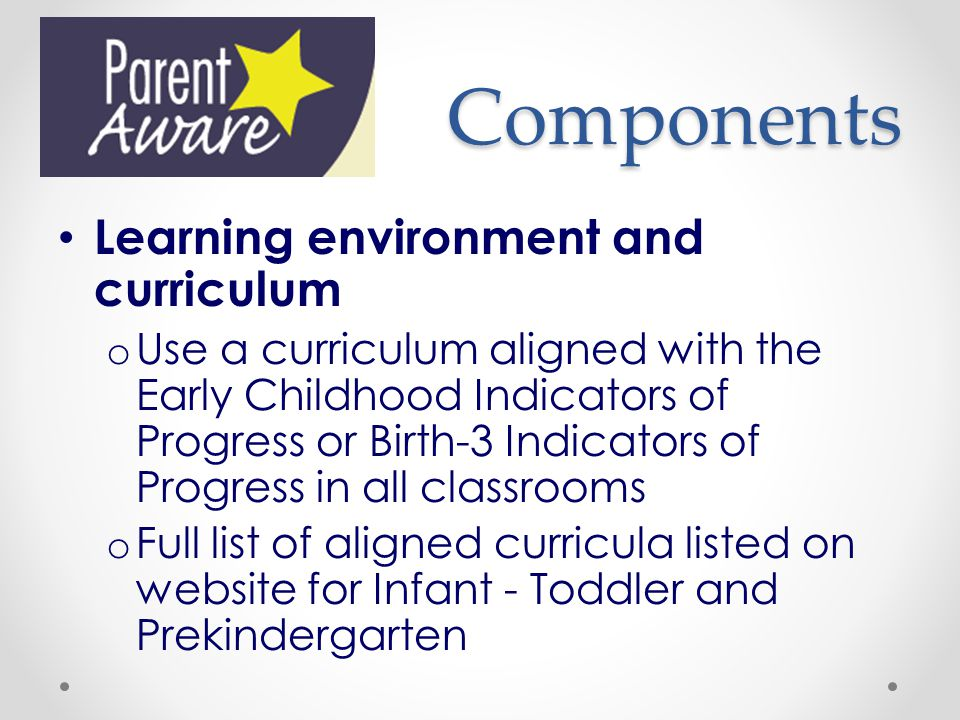 Components Learning environment and curriculum