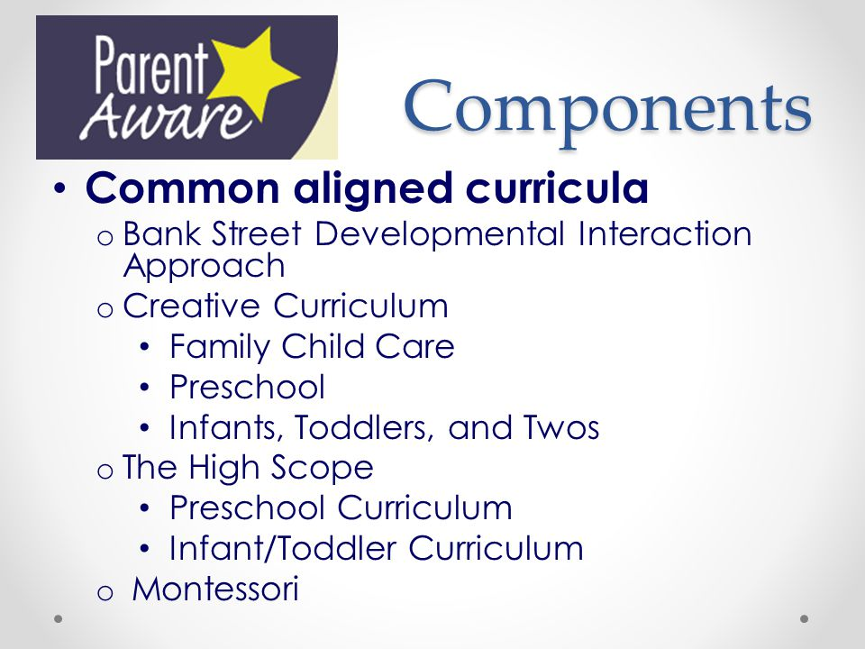 Components Common aligned curricula
