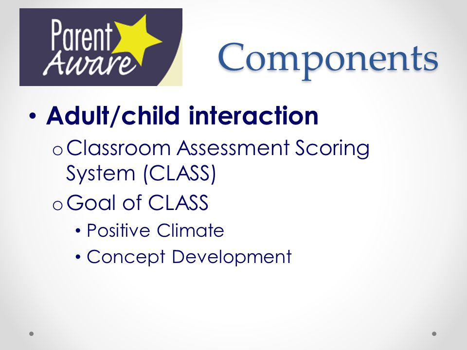 Components Adult/child interaction