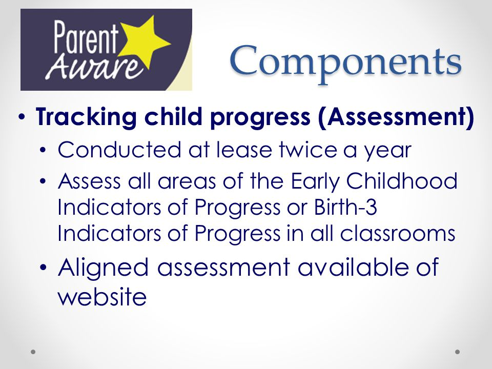 Components Tracking child progress (Assessment)