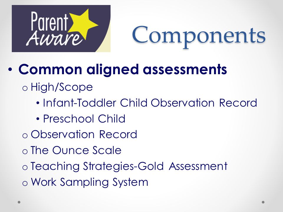 Components Common aligned assessments High/Scope