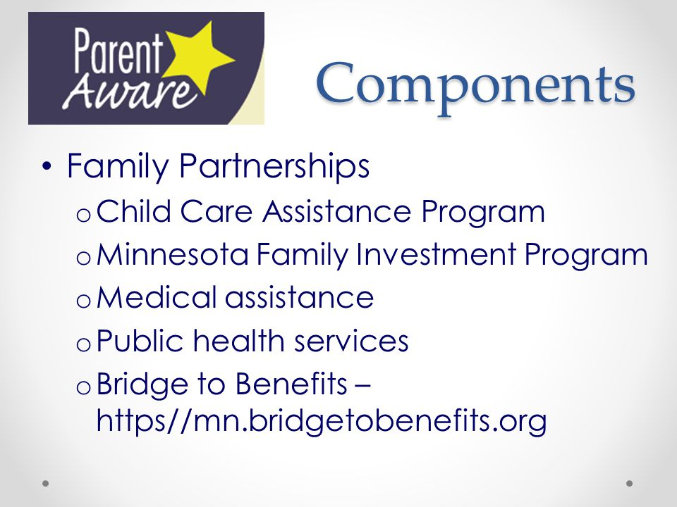 Components Family Partnerships Child Care Assistance Program