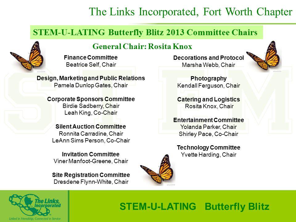 General Chair: Rosita Knox STEM-U-LATING Butterfly Blitz