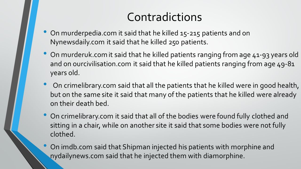 Contradictions On murderpedia.com it said that he killed 15-215 patients and on Nynewsdaily.com it said that he killed 250 patients.