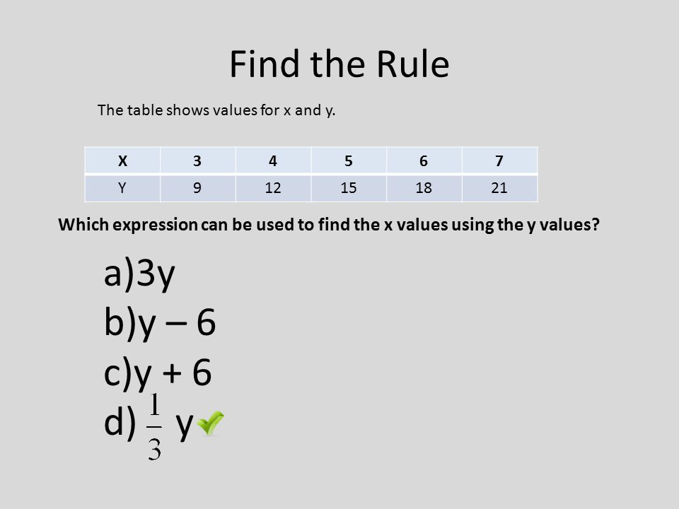 Find the Rule The table shows values for x and y. X. 3. 4. 5. 6. 7. Y. 9. 12. 15. 18. 21.