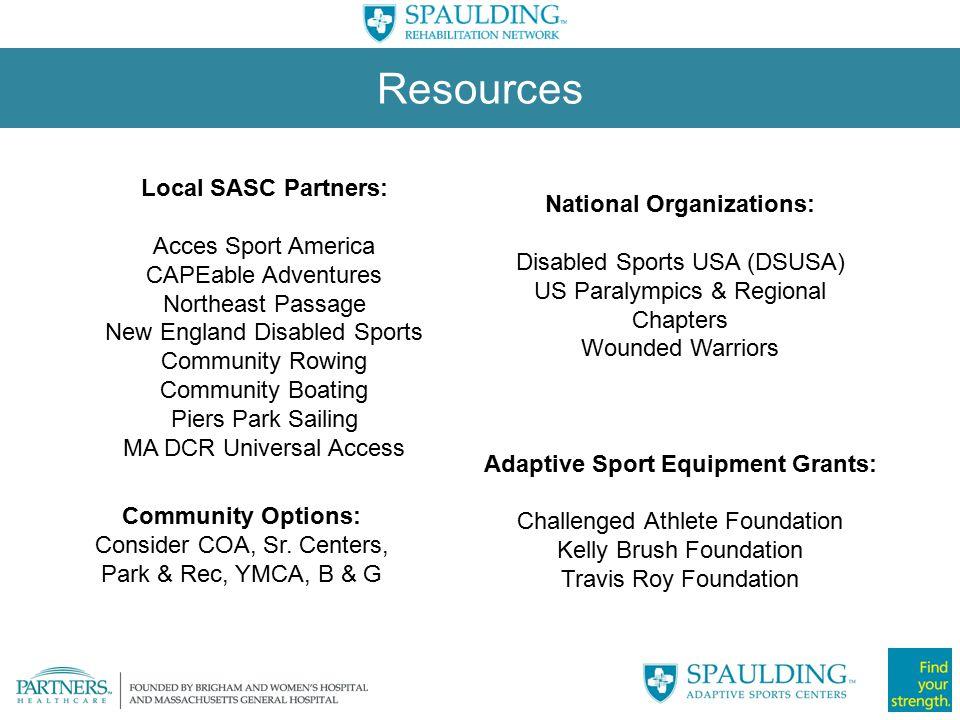 National Organizations: Adaptive Sport Equipment Grants: