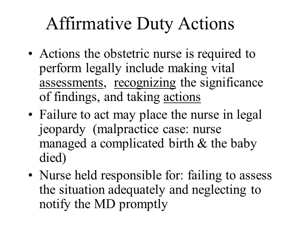 Affirmative Duty Actions