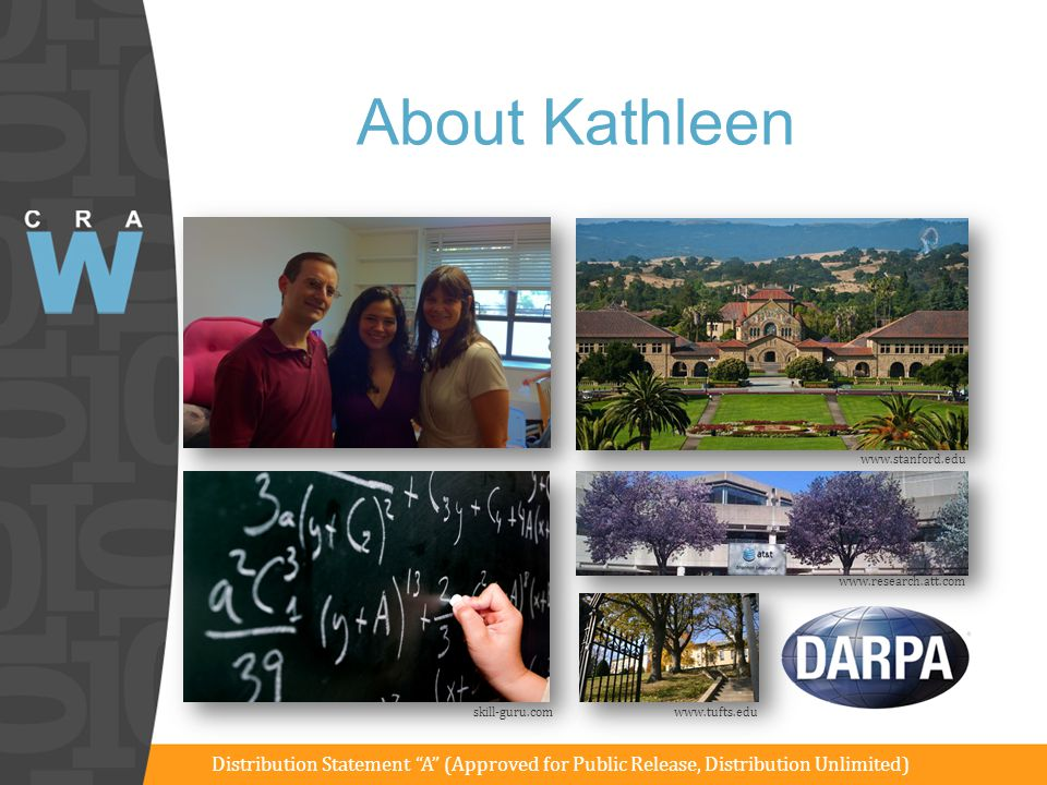 About Kathleen www.stanford.edu. www.research.att.com. skill-guru.com. www.tufts.edu.