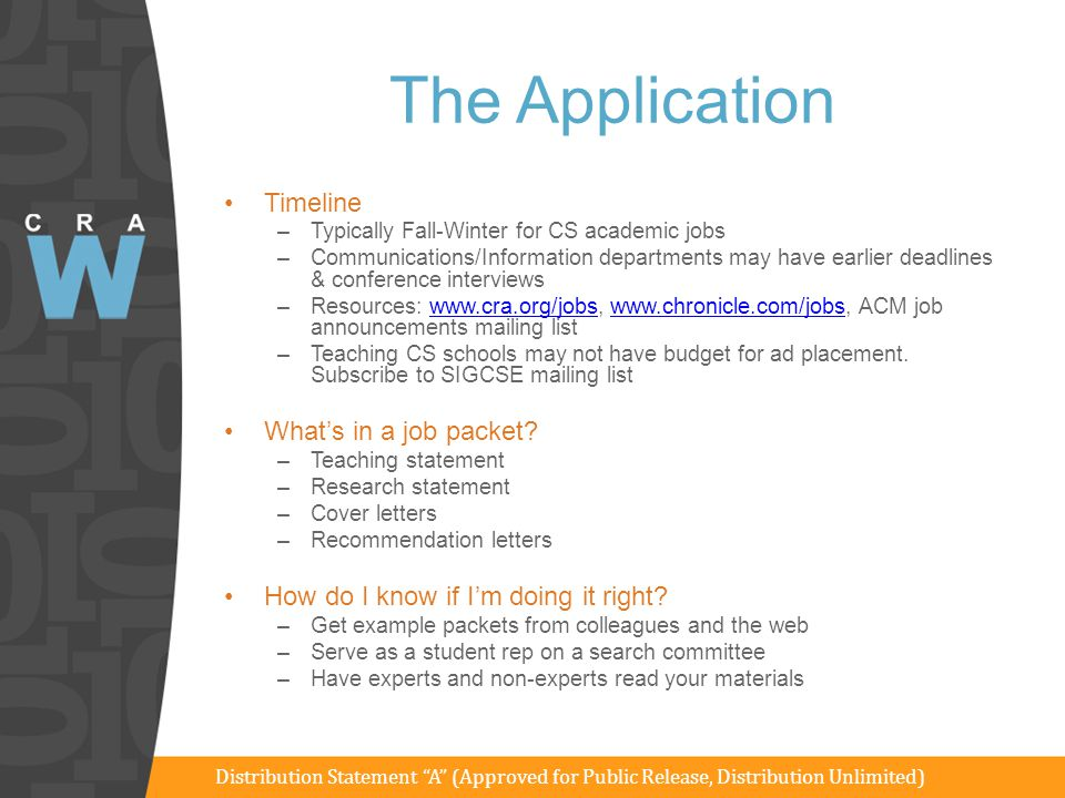 The Application Timeline What's in a job packet