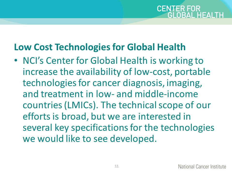 Low Cost Technologies for Global Health