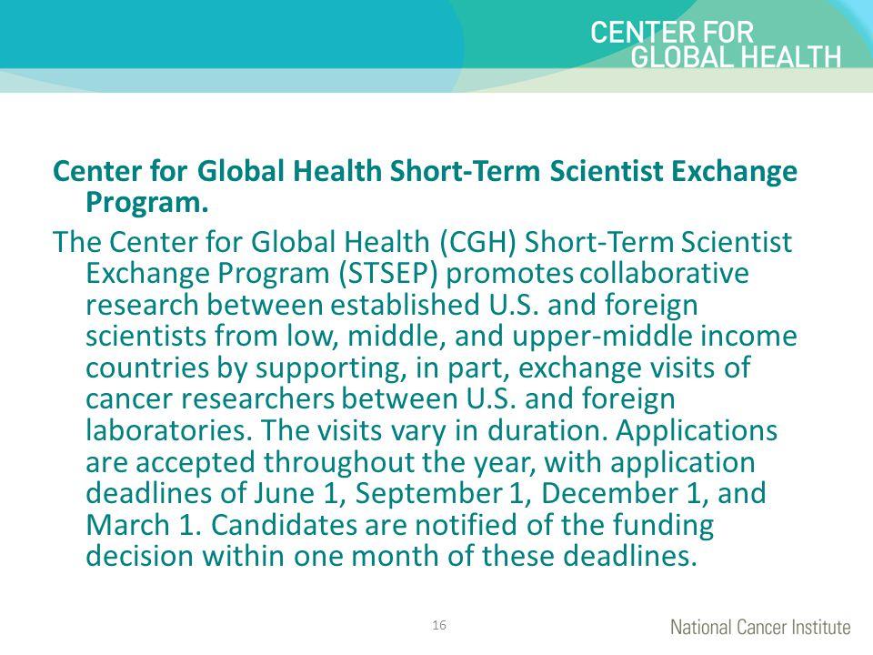 Center for Global Health Short-Term Scientist Exchange Program