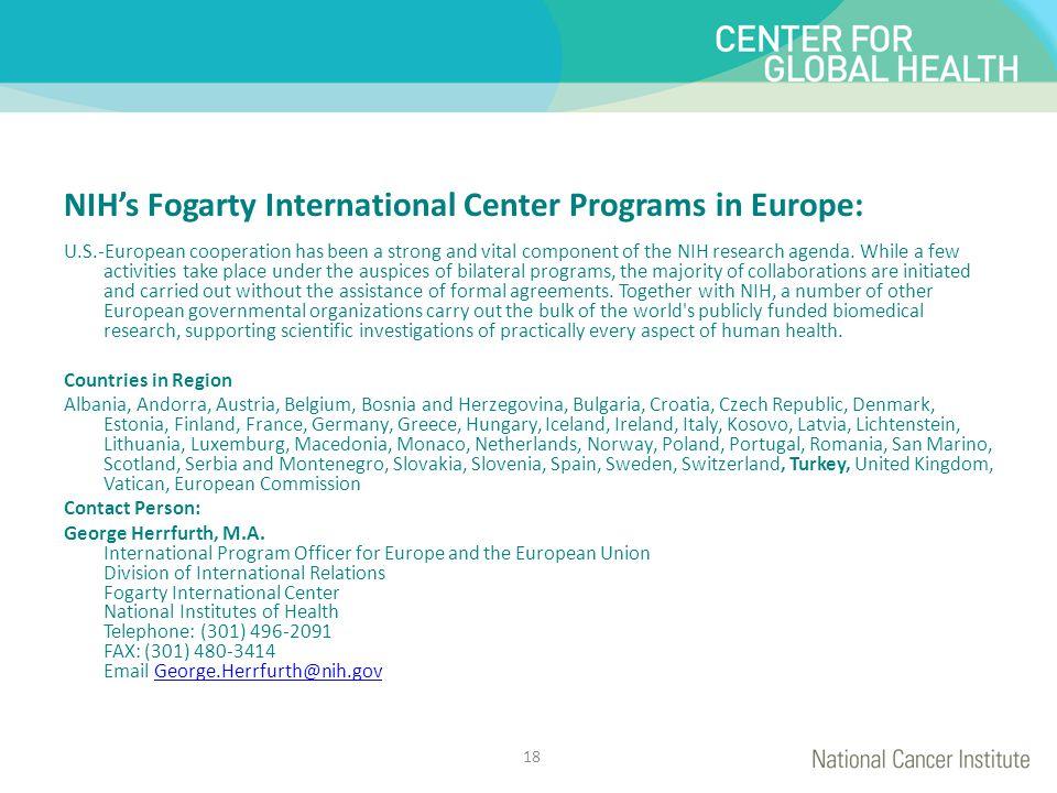 NIH's Fogarty International Center Programs in Europe: