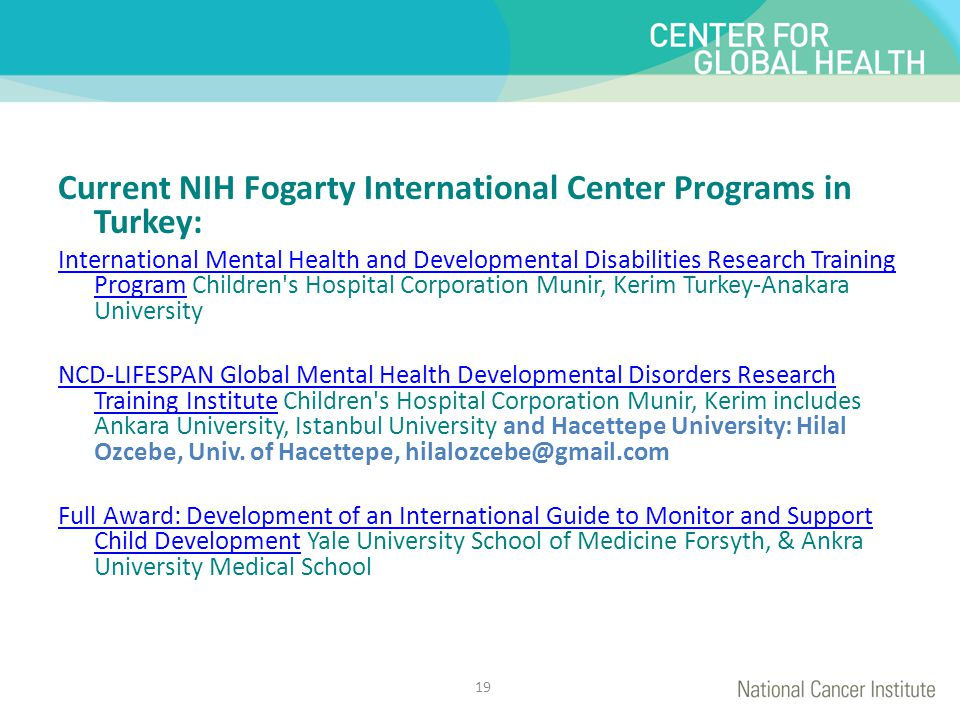 Current NIH Fogarty International Center Programs in Turkey: