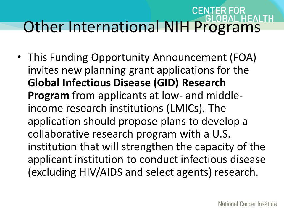Other International NIH Programs