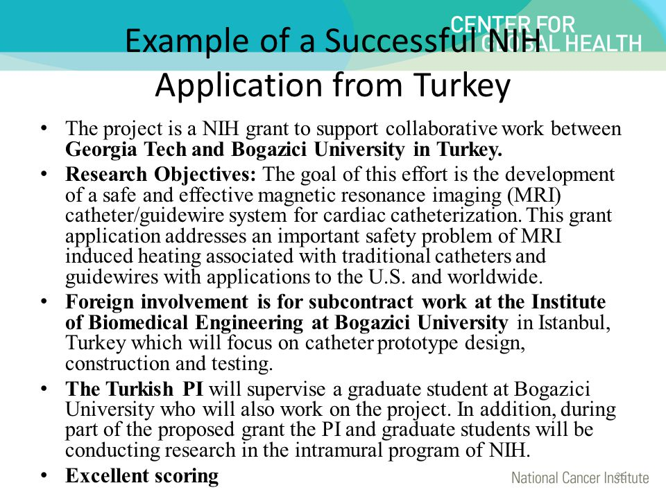Example of a Successful NIH Application from Turkey