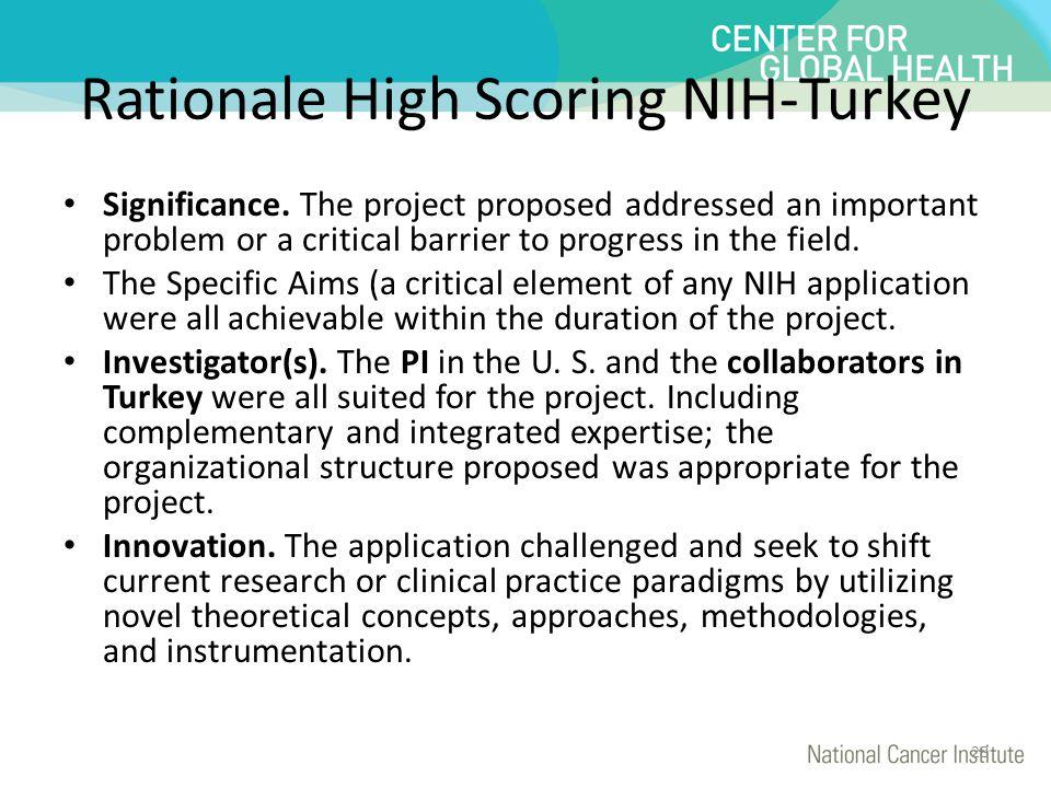 Rationale High Scoring NIH-Turkey