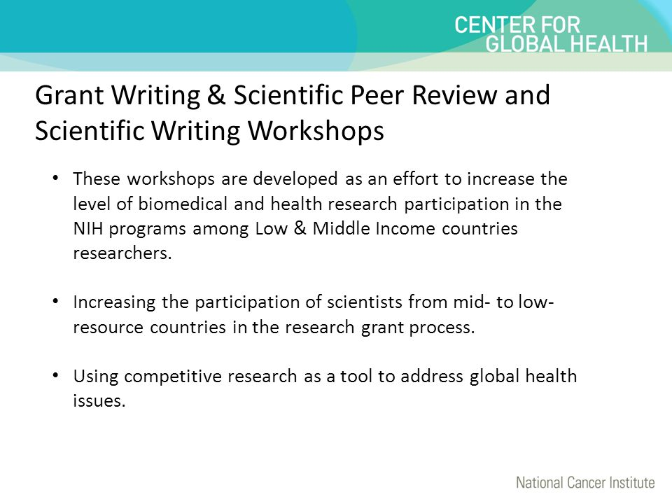 Grant Writing & Scientific Peer Review and Scientific Writing Workshops