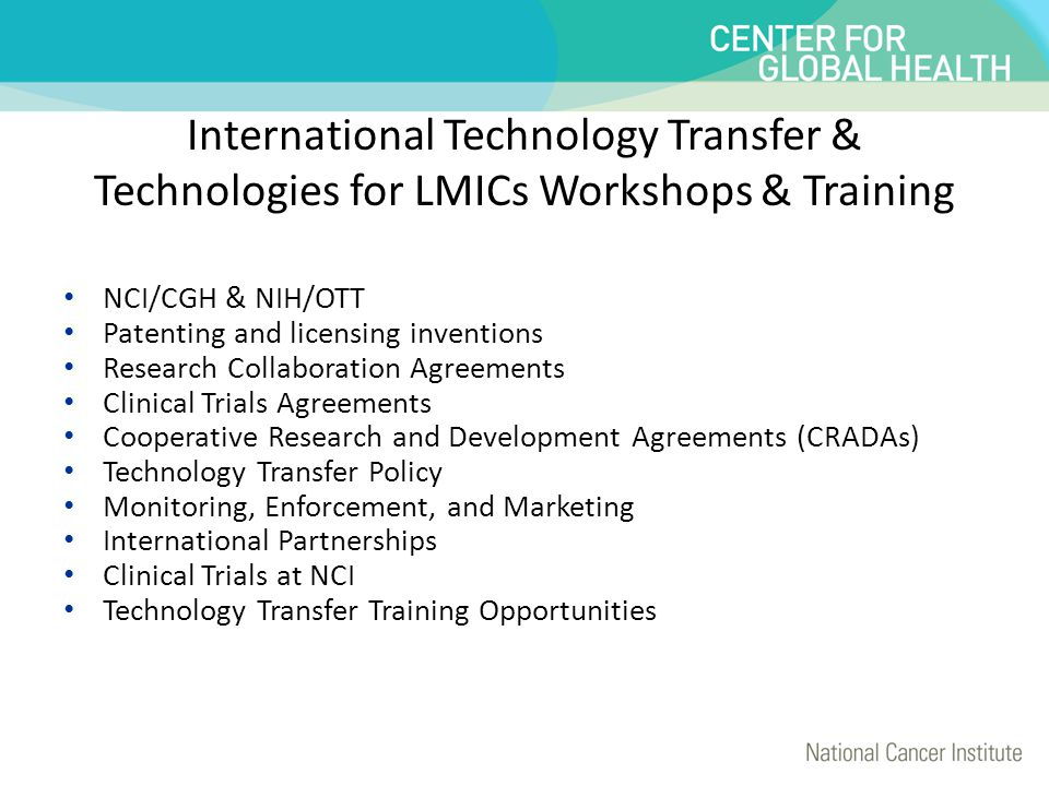 International Technology Transfer & Technologies for LMICs Workshops & Training