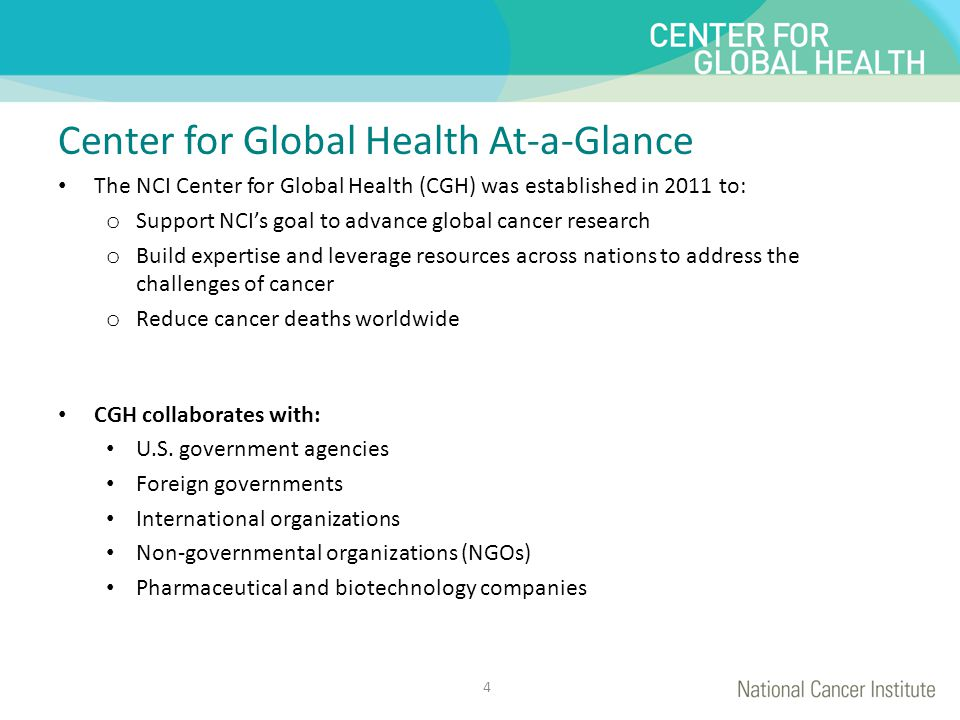 This is for title Center for Global Health At-a-Glance