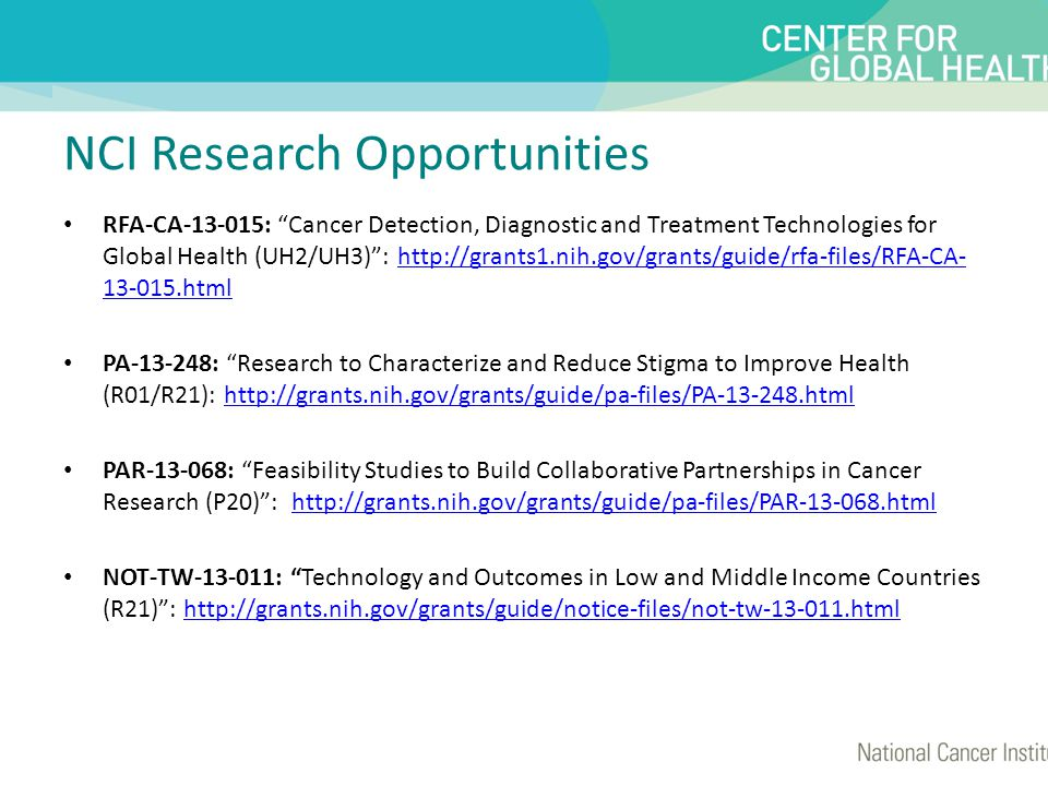NCI Research Opportunities