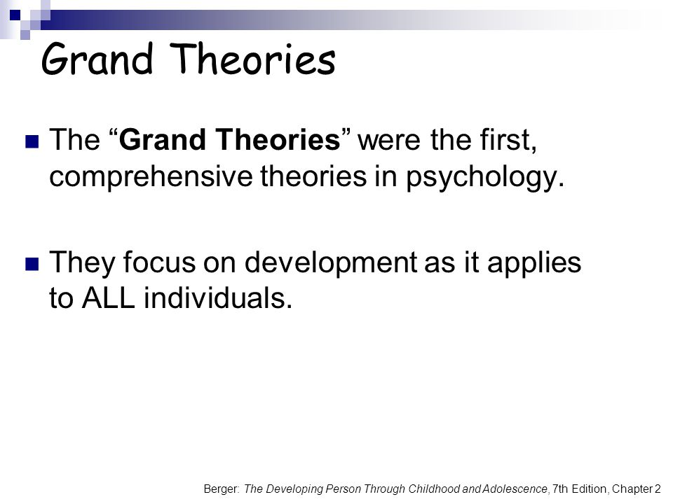 Grand Theories The Grand Theories were the first, comprehensive theories in psychology.