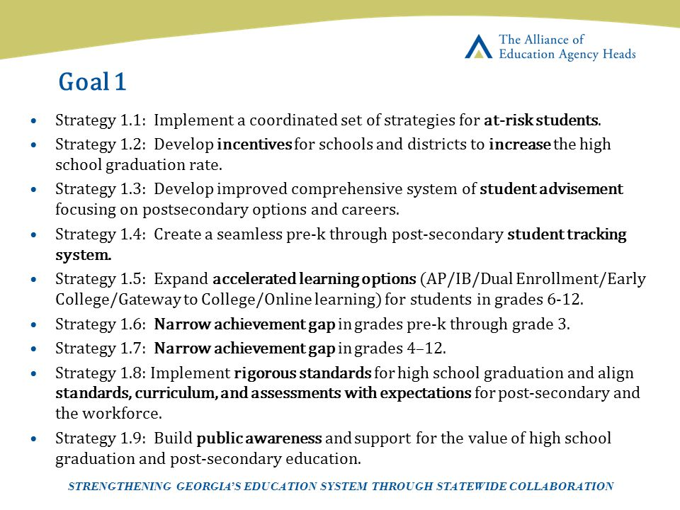 Goal 1 Strategy 1.1: Implement a coordinated set of strategies for at-risk students.
