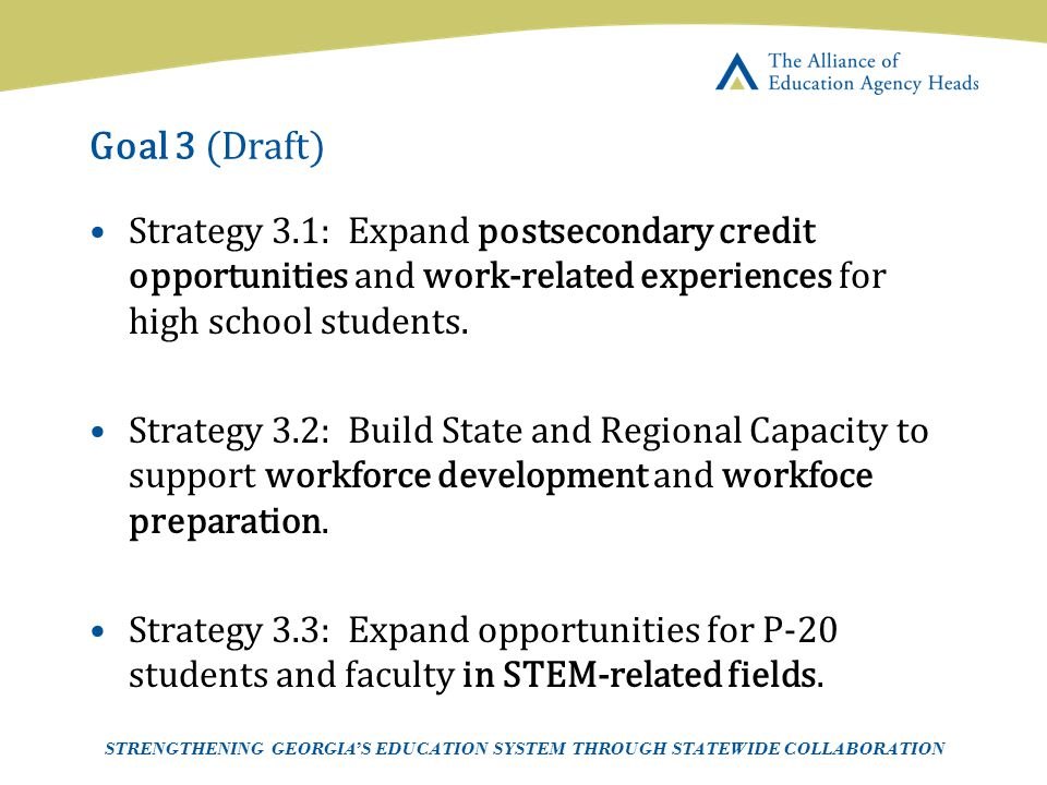 Goal 3 (Draft) Strategy 3.1: Expand postsecondary credit opportunities and work-related experiences for high school students.