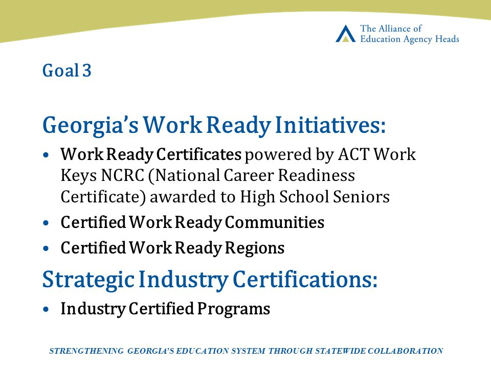 Georgia's Work Ready Initiatives: