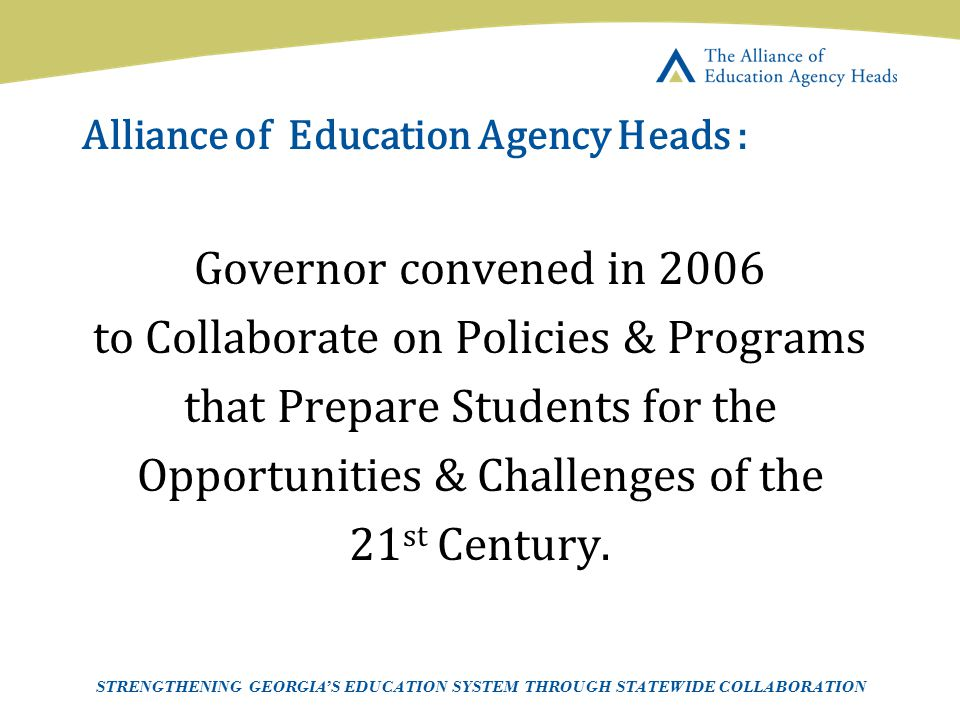 Alliance of Education Agency Heads :