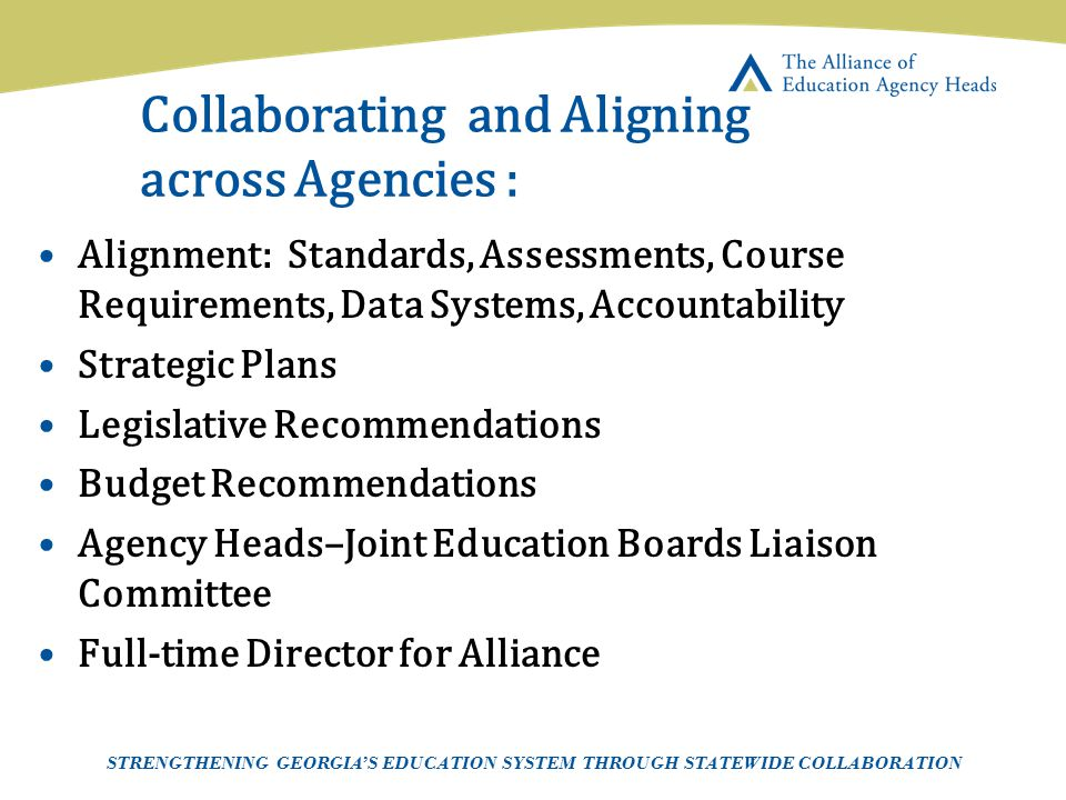 Collaborating and Aligning across Agencies :
