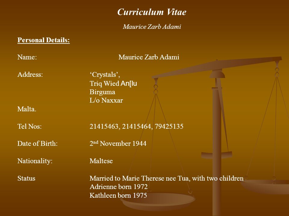 Curriculum Vitae Personal Details: Name: Maurice Zarb Adami