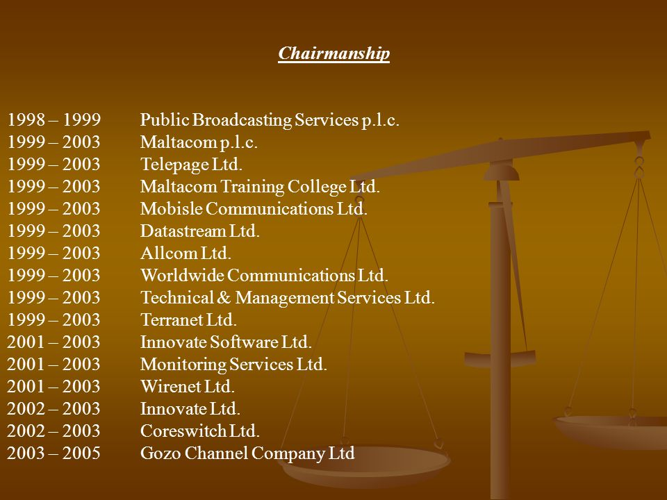 Chairmanship. 1998 – 1999 Public Broadcasting Services p.l.c. 1999 – 2003 Maltacom p.l.c. 1999 – 2003 Telepage Ltd.