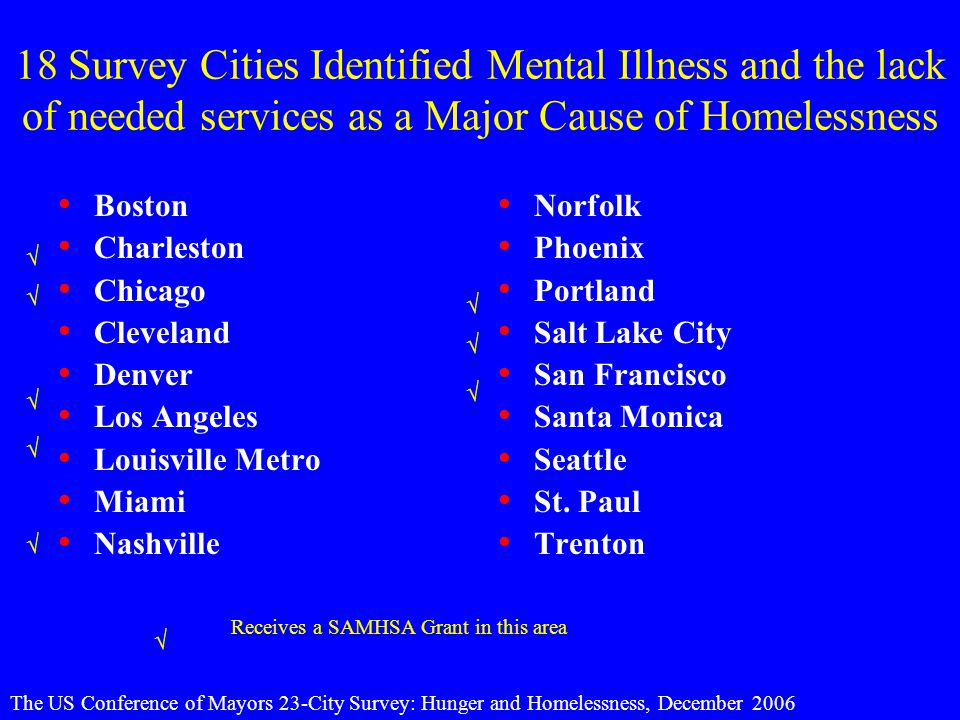 18 Survey Cities Identified Mental Illness and the lack of needed services as a Major Cause of Homelessness