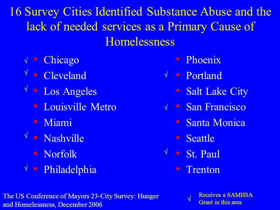16 Survey Cities Identified Substance Abuse and the lack of needed services as a Primary Cause of Homelessness