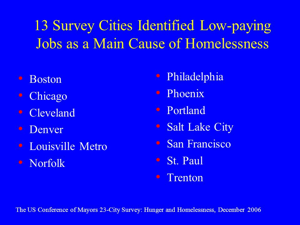 13 Survey Cities Identified Low-paying Jobs as a Main Cause of Homelessness