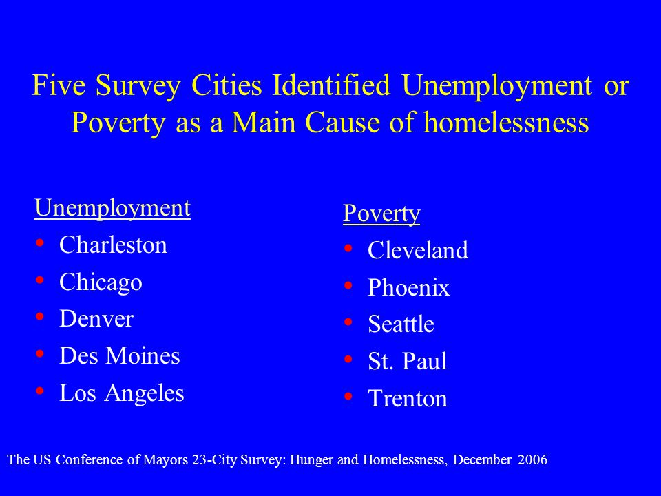 Five Survey Cities Identified Unemployment or Poverty as a Main Cause of homelessness