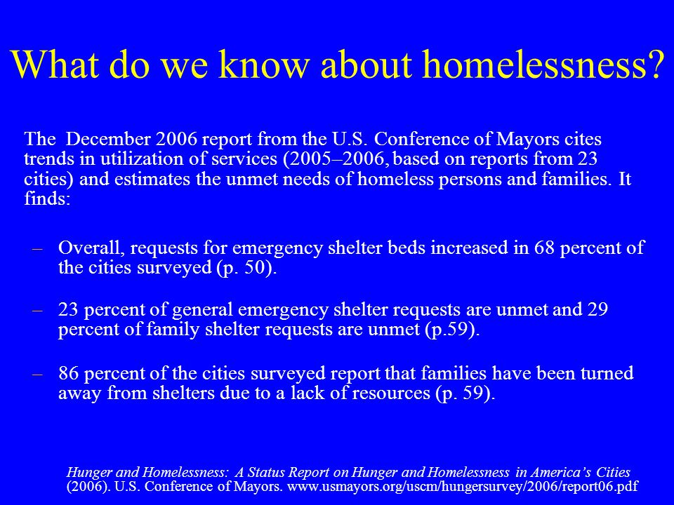 What do we know about homelessness