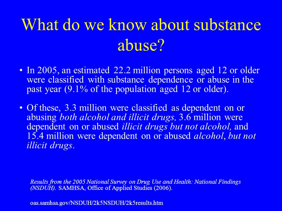 What do we know about substance abuse