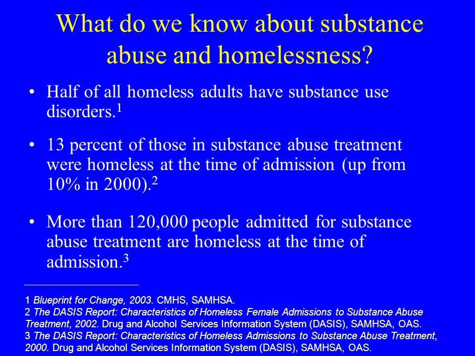 What do we know about substance abuse and homelessness