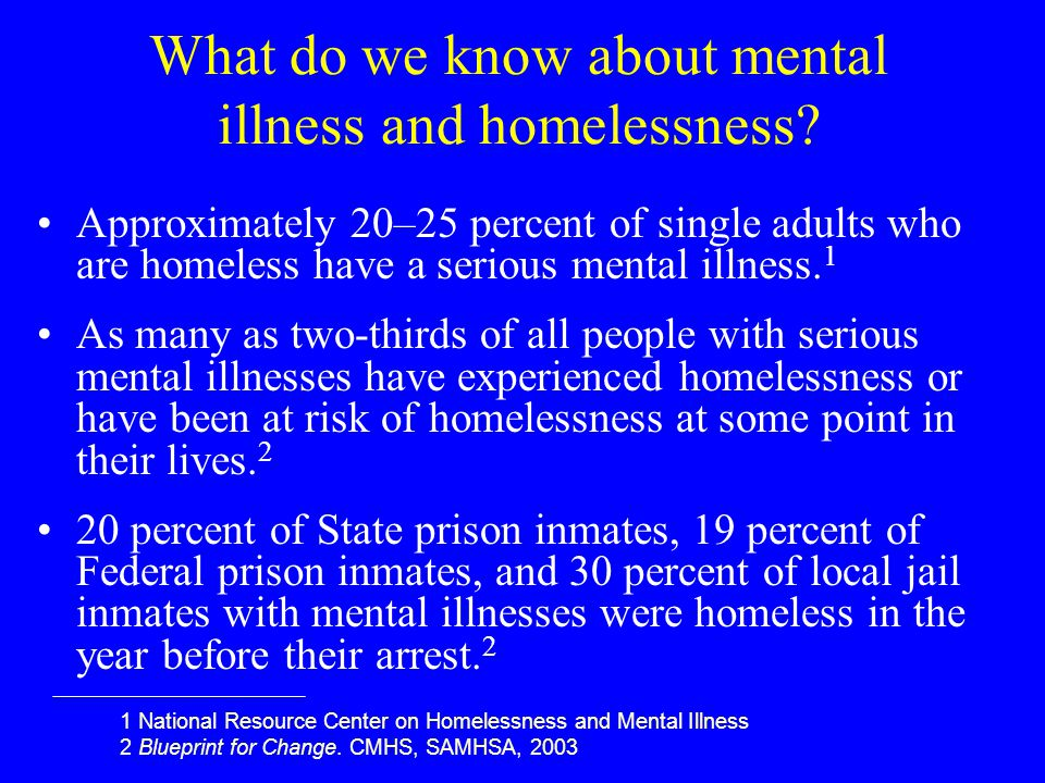 What do we know about mental illness and homelessness