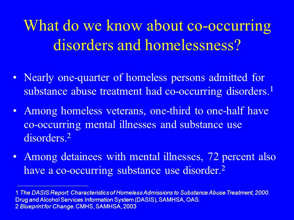 What do we know about co-occurring disorders and homelessness