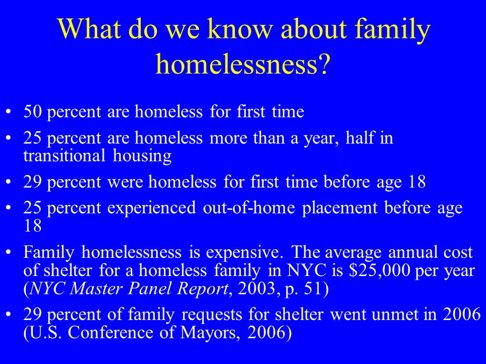 What do we know about family homelessness