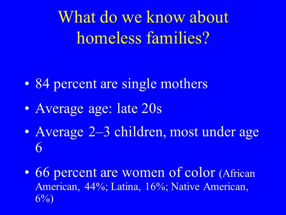 What do we know about homeless families