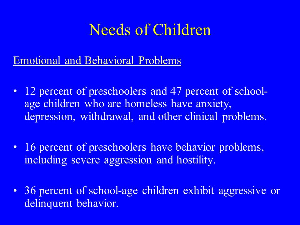 Needs of Children Emotional and Behavioral Problems