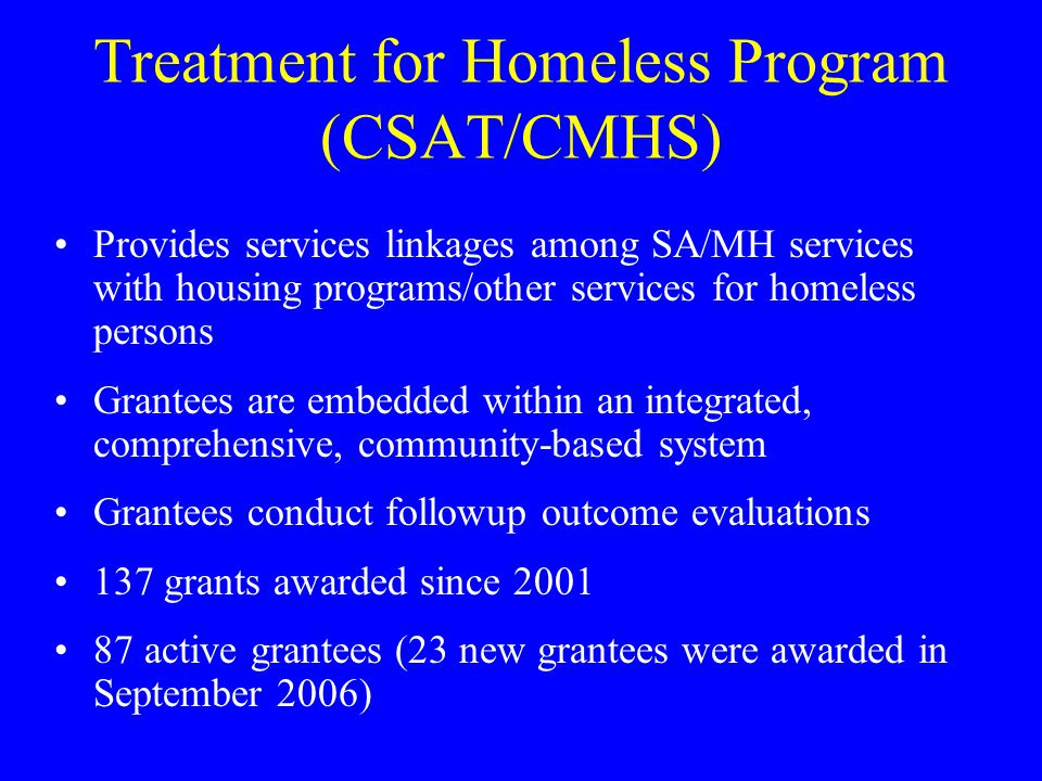 Treatment for Homeless Program (CSAT/CMHS)