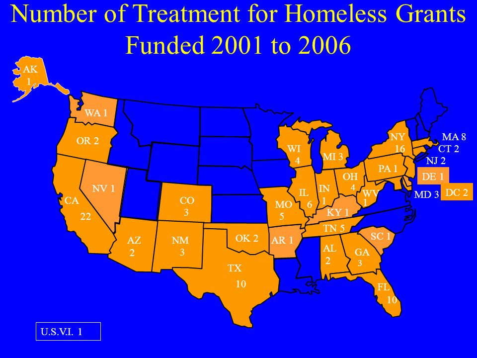 Number of Treatment for Homeless Grants Funded 2001 to 2006