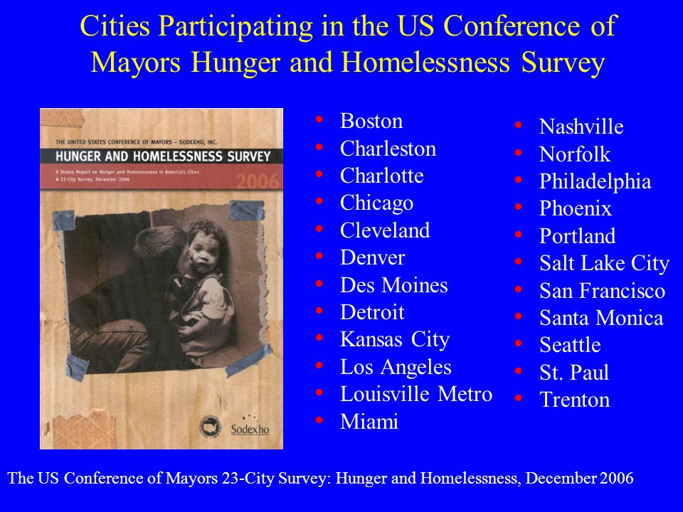 Cities Participating in the US Conference of Mayors Hunger and Homelessness Survey