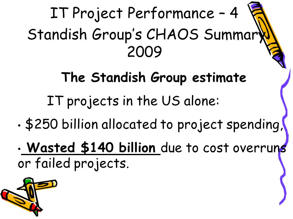 IT Project Performance – 4 Standish Group's CHAOS Summary 2009